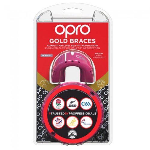 Opro gebitsbeschermer gold braces roze